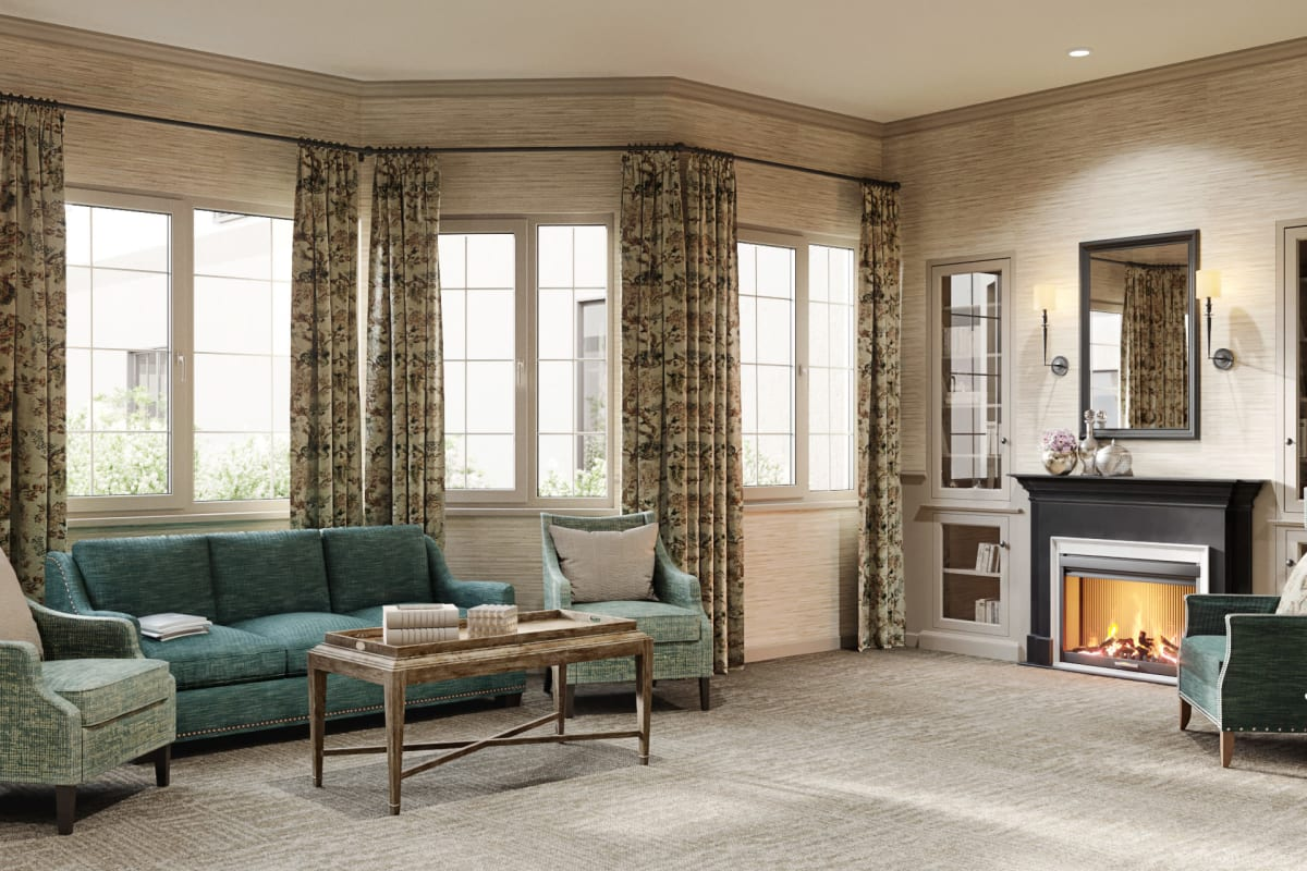Fireside seating in community room at Magnolia Court in Vacaville, California