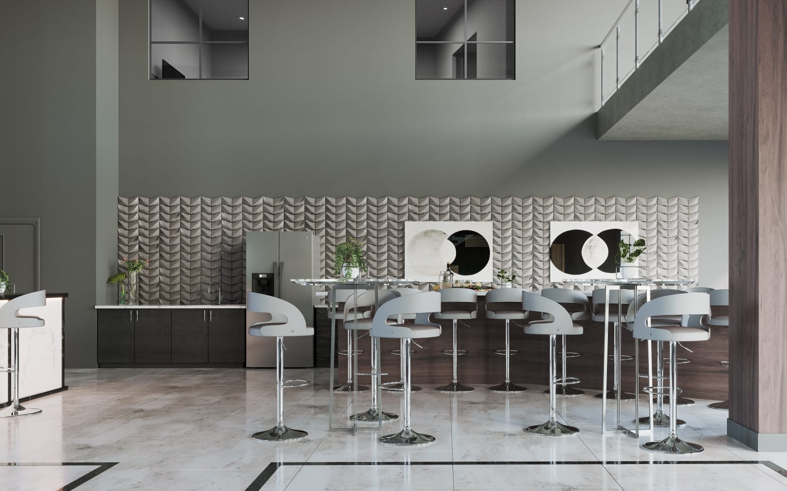 Tables and bar seating in the clubhouse at The District at Scottsdale in Scottsdale, Arizona