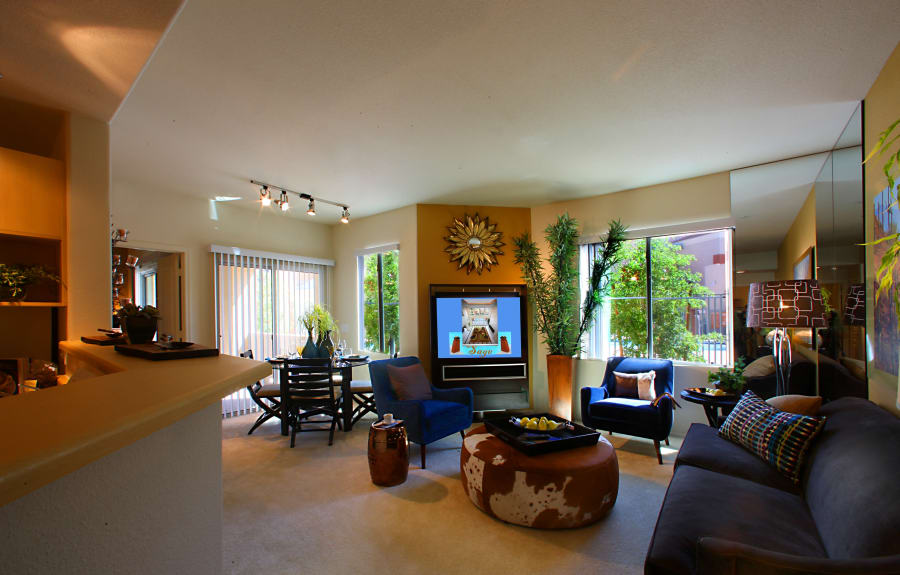 Dining and living room at Sage Luxury Apartment Homes in Phoenix, Arizona