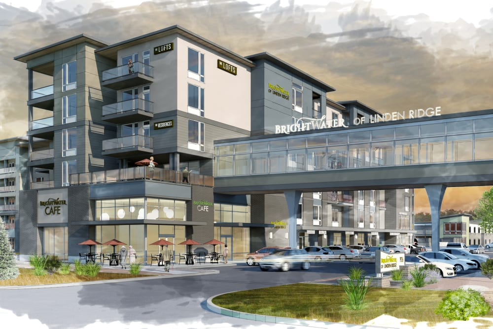 A rendering of the parking lot and main entrance at The Arbours at Linden Pointe in Winnipeg, Manitoba