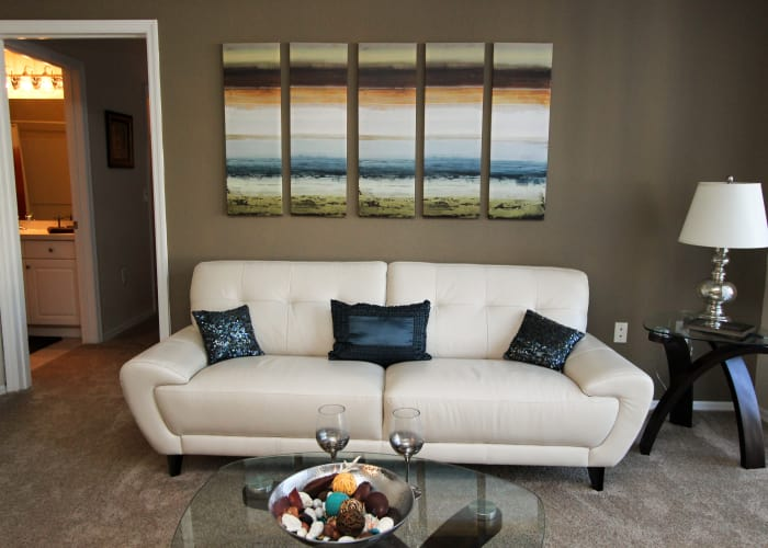 apartment living room at Palms at Wyndtree luxury apartments