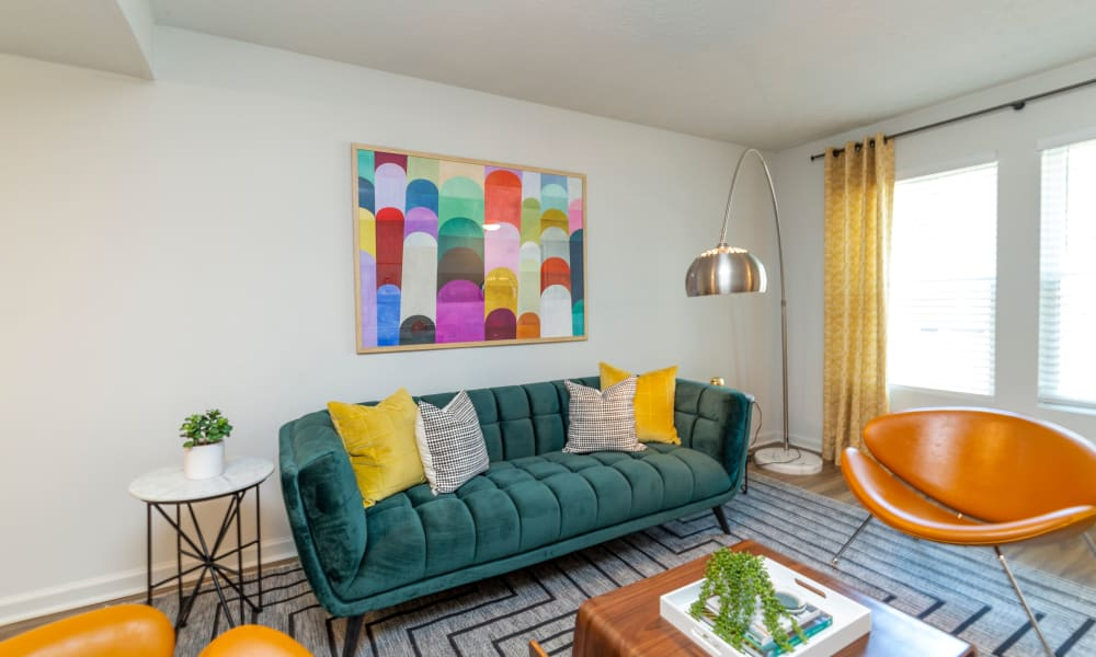 Living room model at The Halsten in Atlanta, Georgia