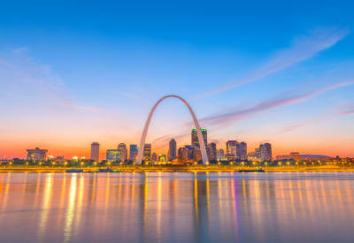 Gorgeous view of downtown and the Gateway Arch from the Mississippi River near Oxford Hills in St. Louis, Missouri