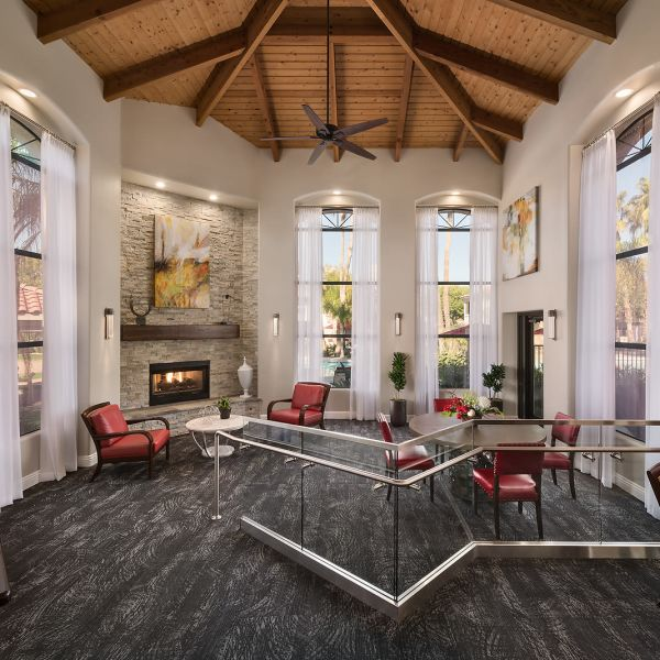 Lavish resident clubhouse interior at San Palmilla in Tempe, Arizona