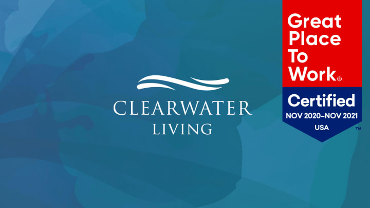 Clearwater Living logo and Great Place to Work Badge