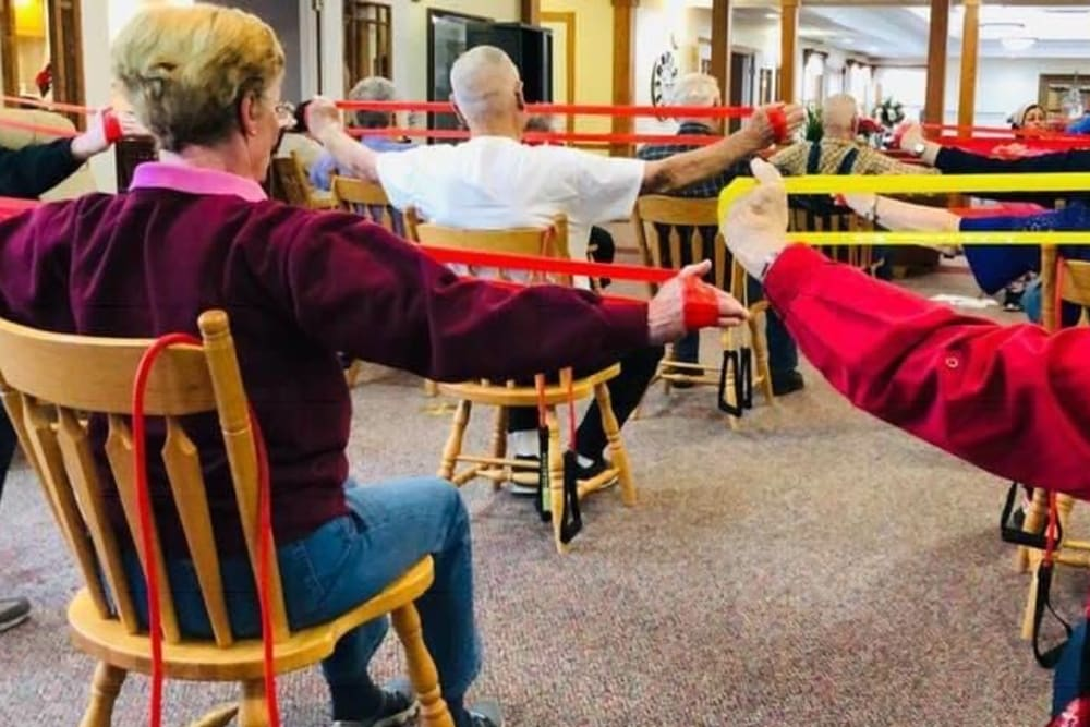 Resident exercise class at Prairie Hills in Independence, Iowa.