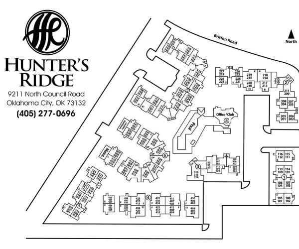 Site map for Hunter's Ridge in Oklahoma City, Oklahoma
