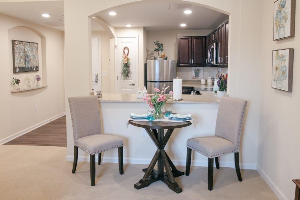 Eat-in area in apartment at Harmony at Greensboro in Greensboro, North Carolina