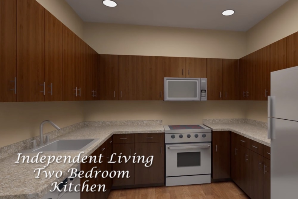 Architectural rendering of kitchen at Harmony at Brookberry Farm in Winston-Salem, North Carolina