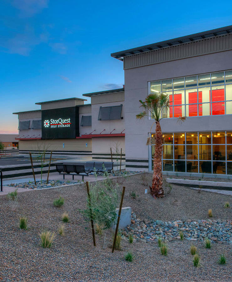 Facade and surrounding landscaping at StorQuest Self Storage in Los Angeles, California