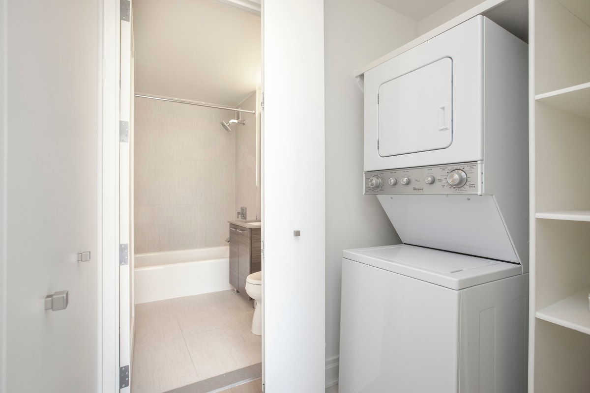 In home washer and dryer ready to wash your clothes at The Ventura in New York, New York
