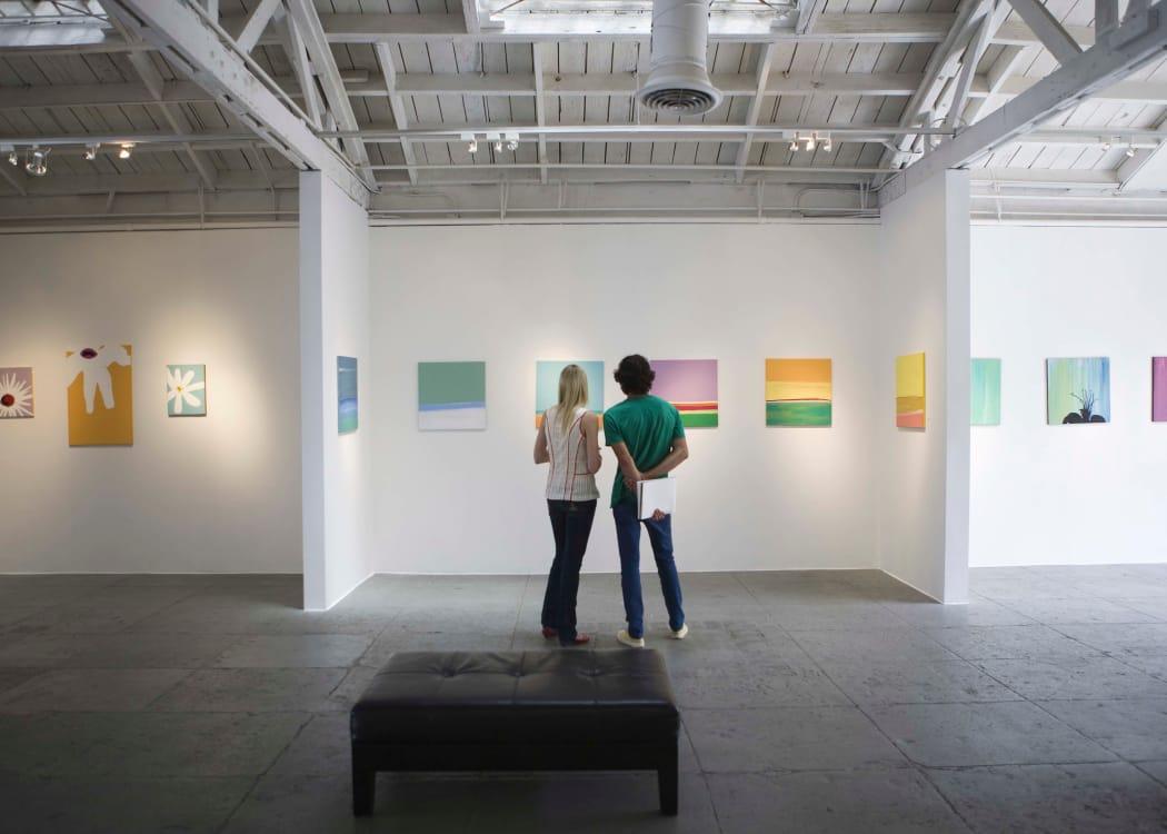 Friends enjoying an art museum near The Remington Apartments in Wichita, Kansas