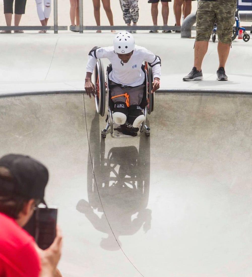 Jesse Billauer in a skate park on his wheelchair