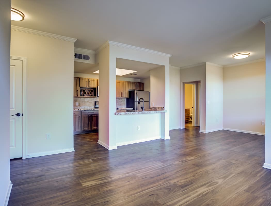 Interior of model home showcasing hardwood floors at Riata Austin in Austin, Texas