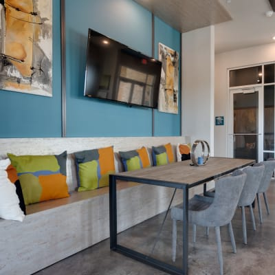 Modern clubhouse at social club at Bellrock Upper North in Haltom City, Texas