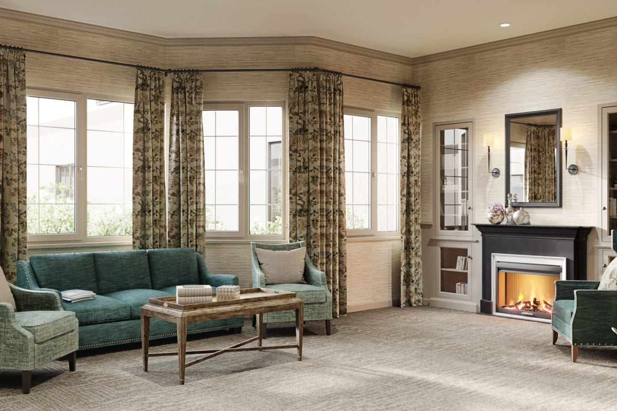 Fireside seating in community room at Magnolia Place in Bakersfield, California