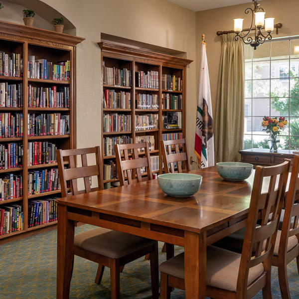 The library at Pacifica Senior Living Fresno in Fresno, California.