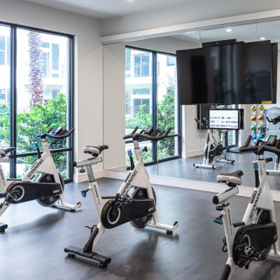 Fitness center at Bellrock Summer Street in Houston, Texas