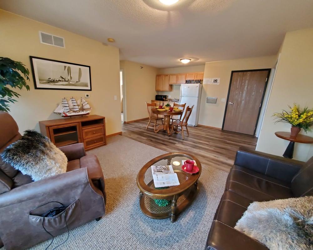 Spacious resident apartment at The Lakeside Village in Panora, Iowa.
