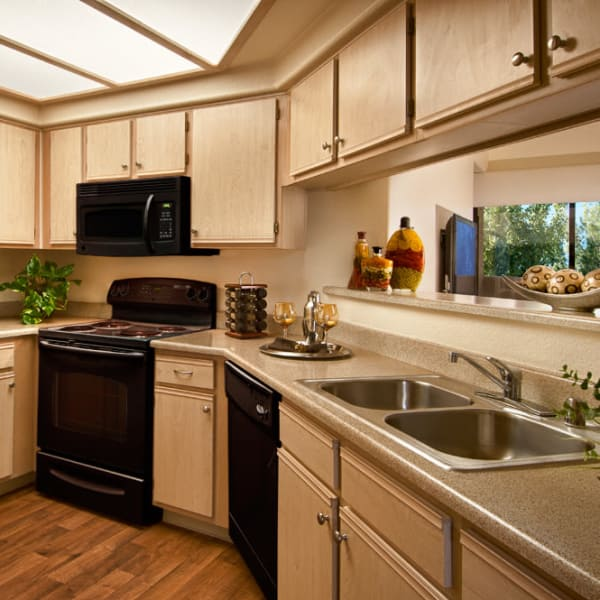 Modern kitchen with black appliances and hardwood floor in model home at San Palmilla in Tempe, Arizona