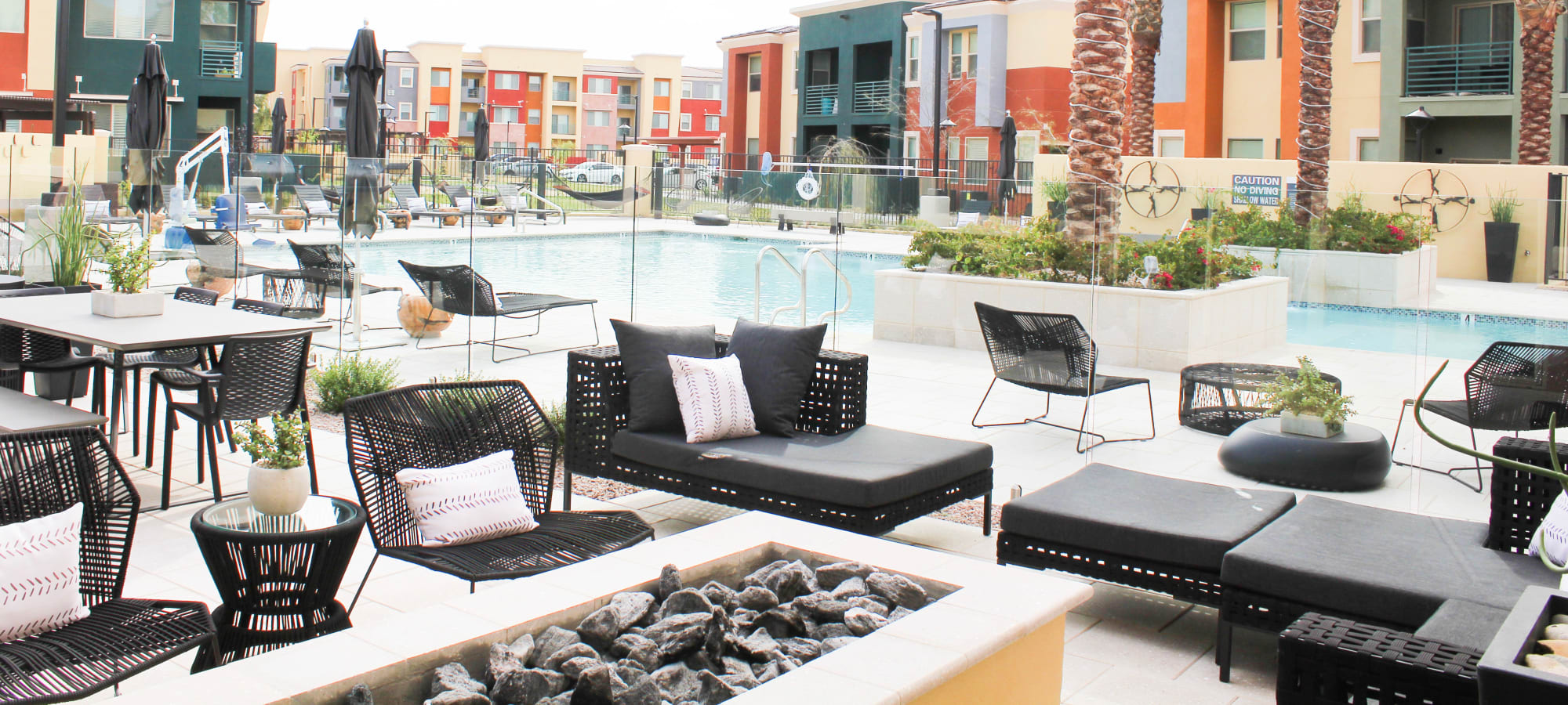 Fire Pit with Pool View at Villa Vita Apartments in Peoria, Arizona