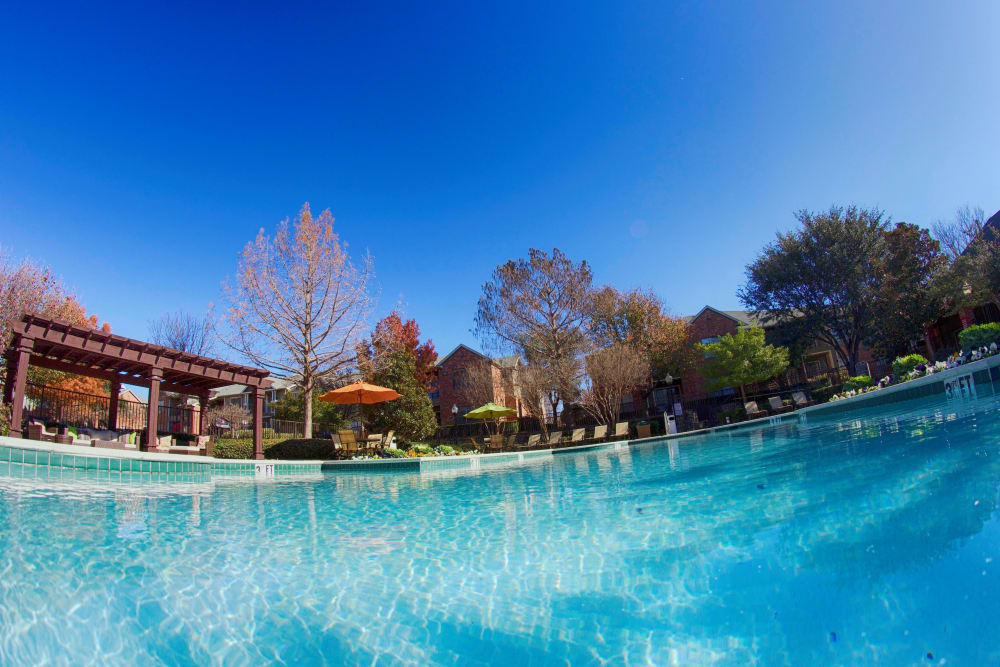 Beautiful swimming pool at The Abbey at Hightower in North Richland Hills, Texas