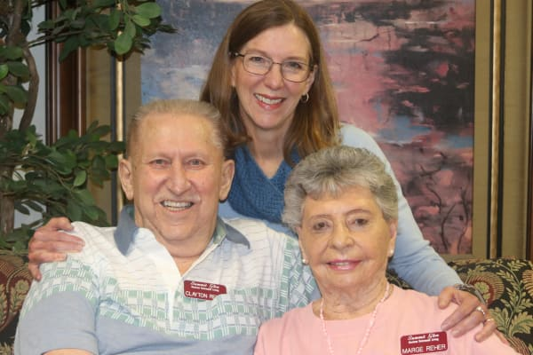 Marge and Clayton Rher with daughter Mary Heller at Summit Glen in Colorado Springs, Colorado