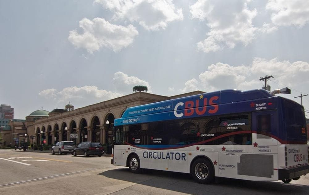 Public transit near Easton Commons in Columbus, Ohio