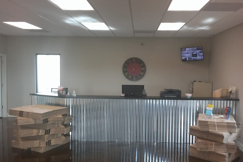 Welcoming front desk at Oakland Self Storage in Madison, Alabama