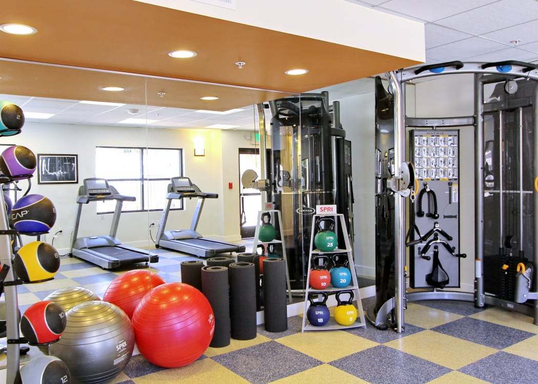 Well-equipped fitness center at IMT Magnolia in Sherman Oaks, CA