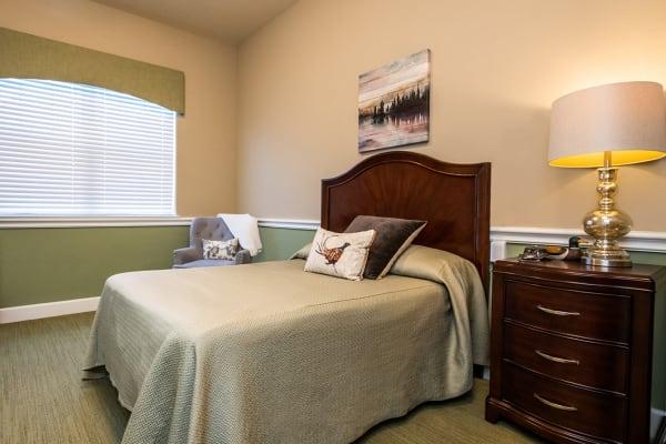 Bedroom at Sun Oak Senior Living in Citrus Heights, California