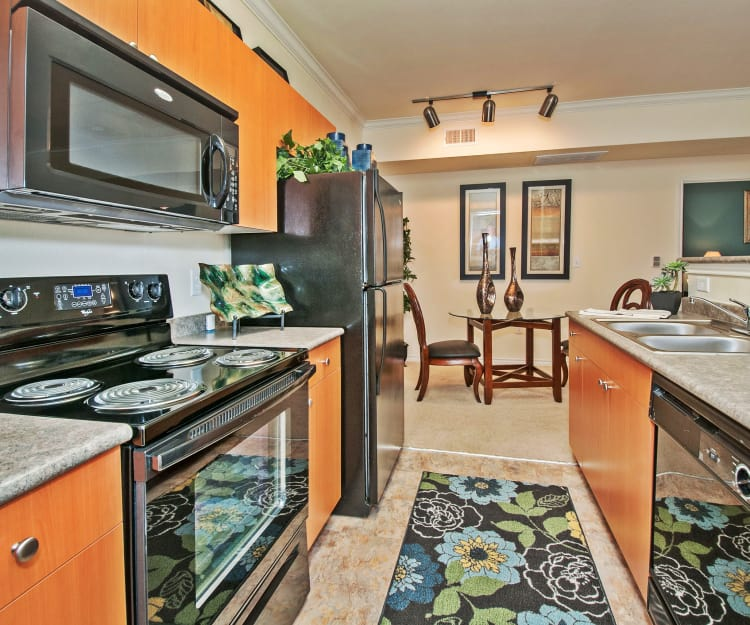 Modern kitchen with black appliances in model home at The Landing at Mansfield in Mansfield, Texas
