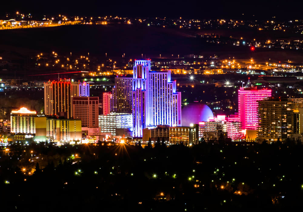 Vegas glowing at night at Northwind Apartments in Reno, Nevada