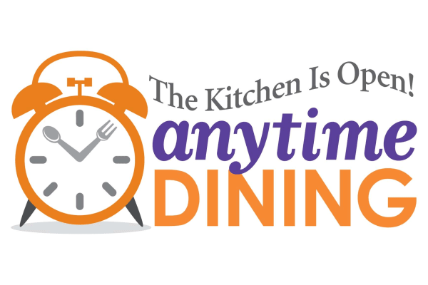Anytime dining graphic for Discovery Senior Living in Bonita Springs, Florida