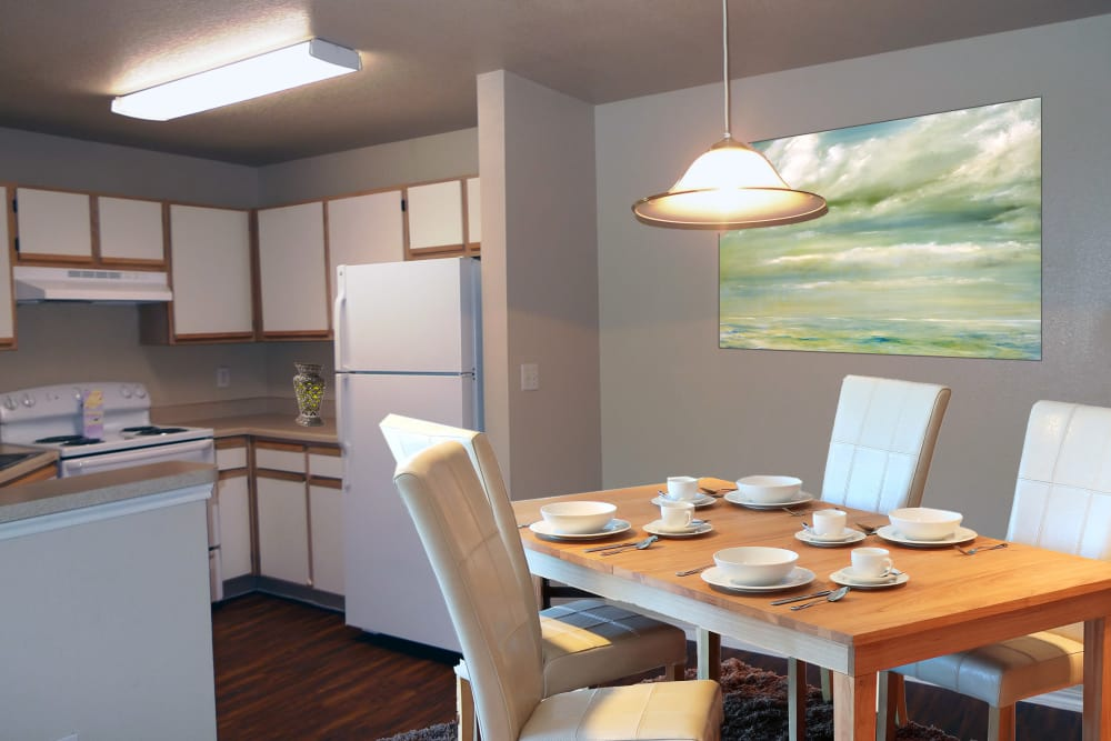 Dining room and kitchen at River Court Apartments