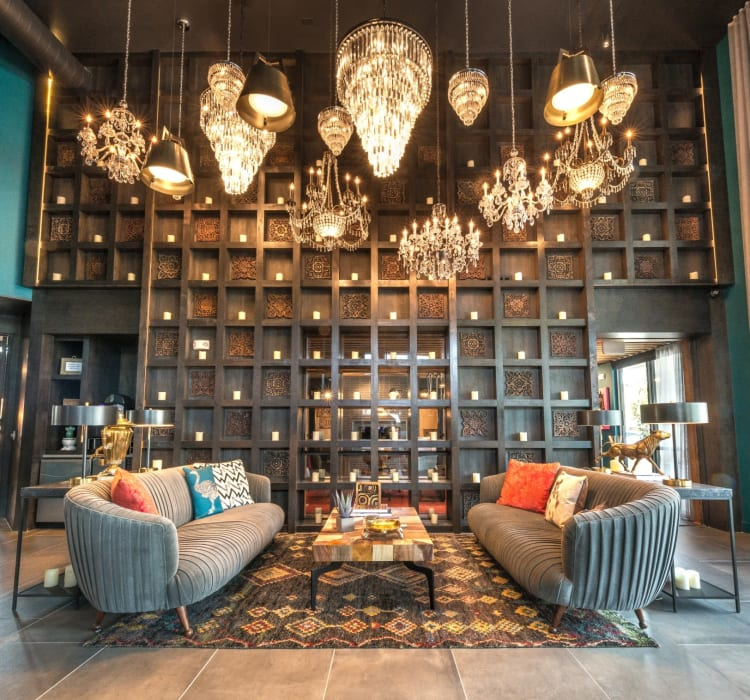 Awesome lounge area in the resident clubhouse at Mercantile River District in Fort Worth, Texas