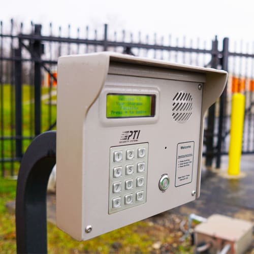 Keypad at the entrance gate of Red Dot Storage in Sycamore, Illinois