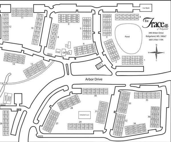 Site map for The Trace of Ridgeland in Ridgeland, Mississippi