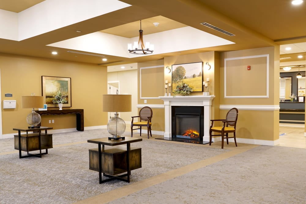 A lobby area at Harmony at Morgantown in Morgantown, West Virginia