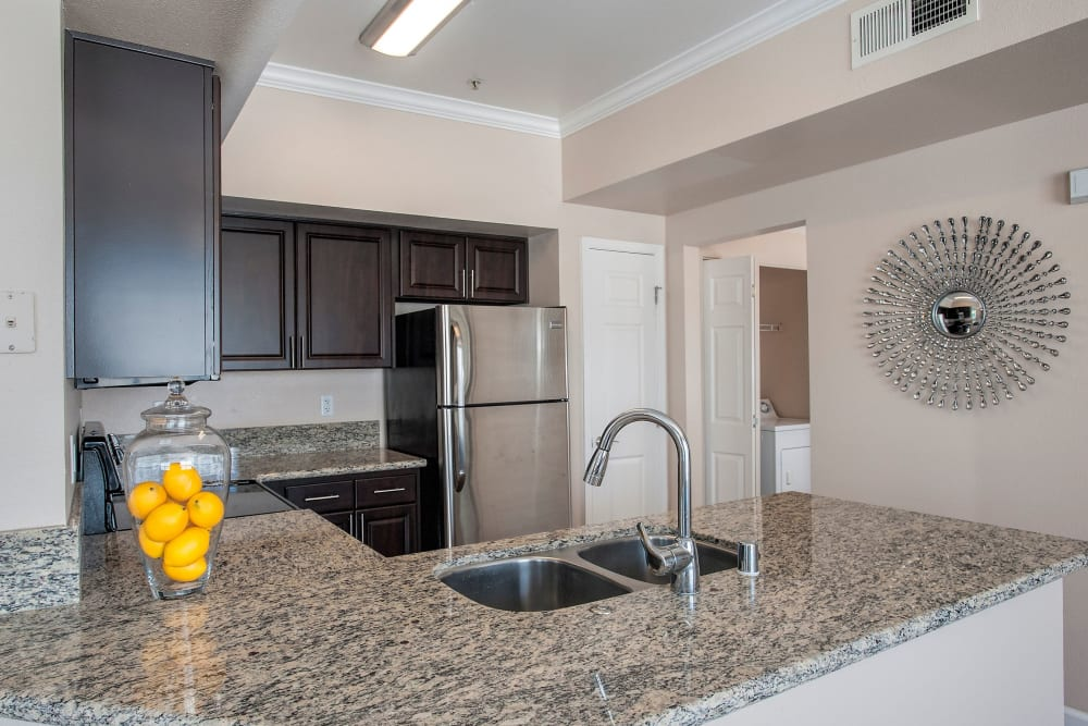 Beautiful, gourmet kitchen in a model home at The Vintage at South Meadows Condominium Rentals in Reno, Nevada