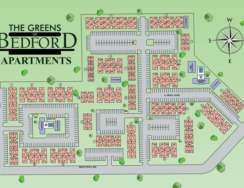 Site map for The Greens of Bedford in Tulsa, Oklahoma