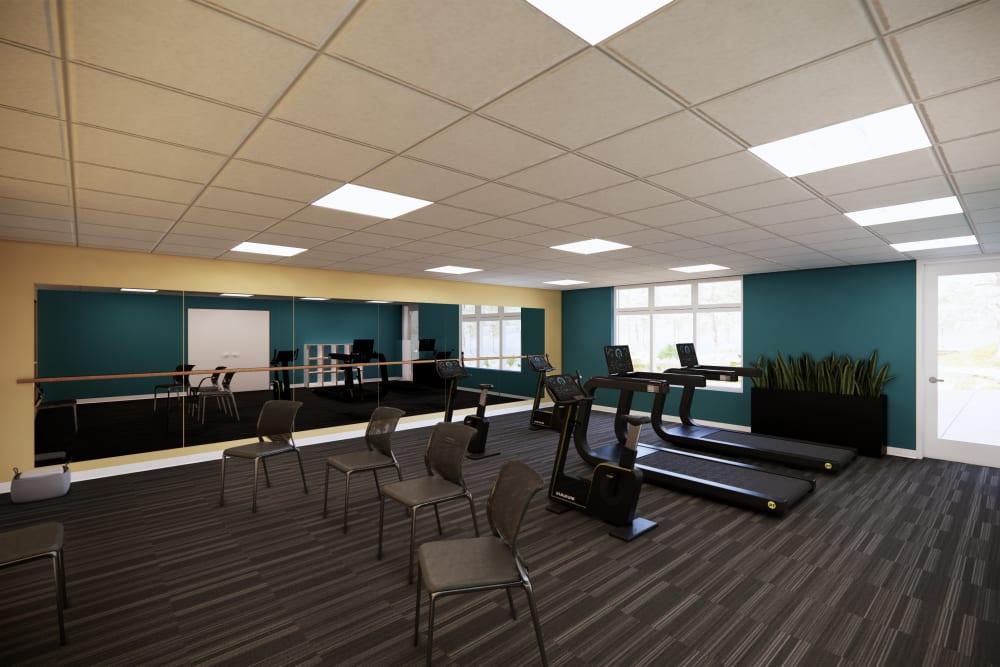 Fitness center at Broadwell Senior Living in Kearney, Nebraska
