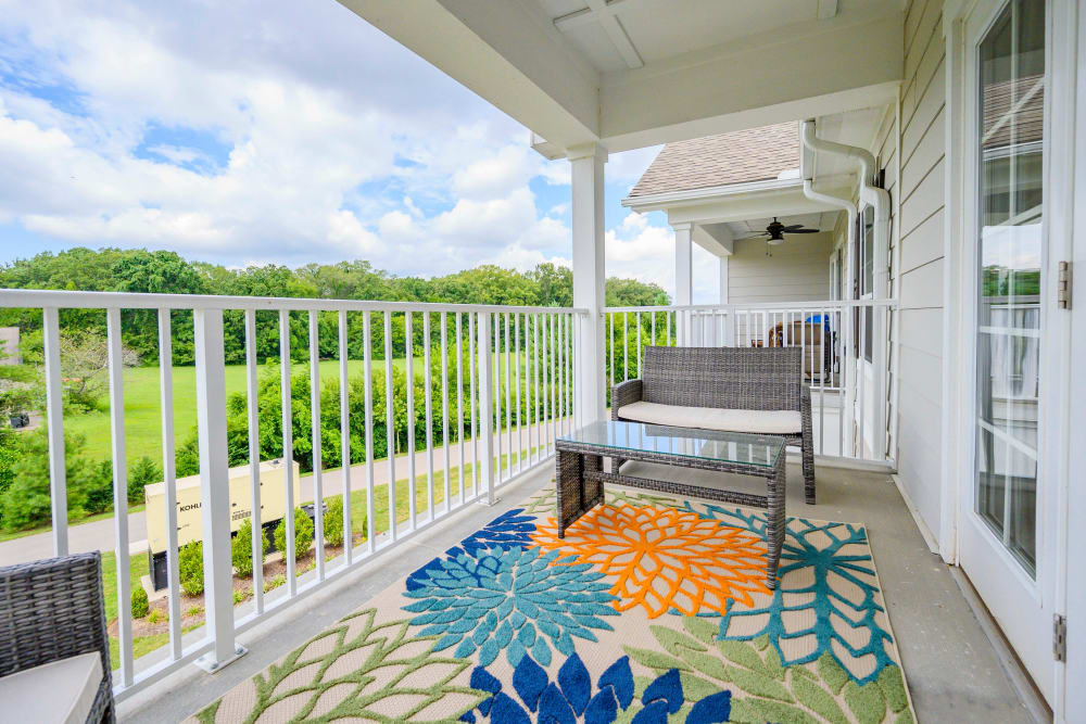 Apartment balcony at Harmony at Victory Station in Murfreesboro, Tennessee