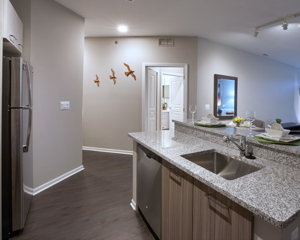 Modern kitchen with granite countertops in model home at Five Points in Auburn Hills, Michigan