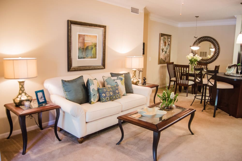 Spacious model living room at Lullwater at Saluda Pointe in Lexington, South Carolina