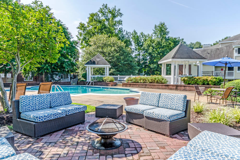 Outdoor fireplace at Residences at Belmont in Fredericksburg