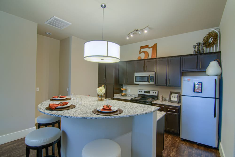 Stylish kitchen at Tradan Heights in Stillwater, Oklahoma