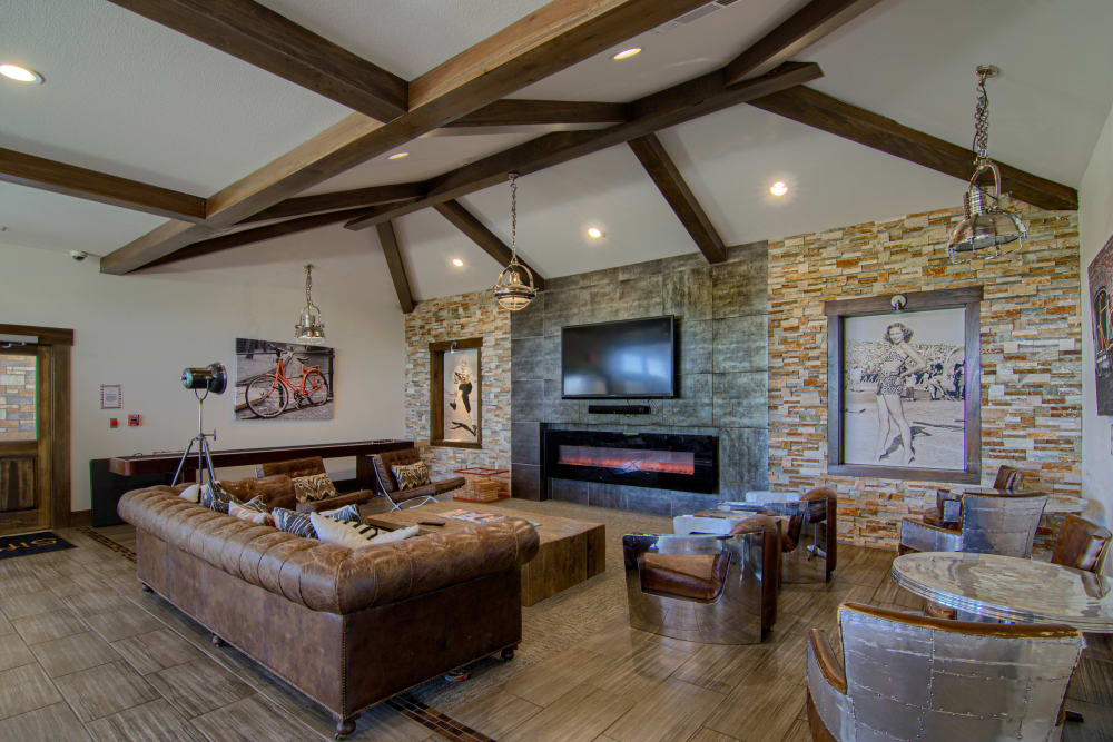 Rustic clubhouse with plenty of comfortable seating at Tradan Heights in Stillwater, Oklahoma