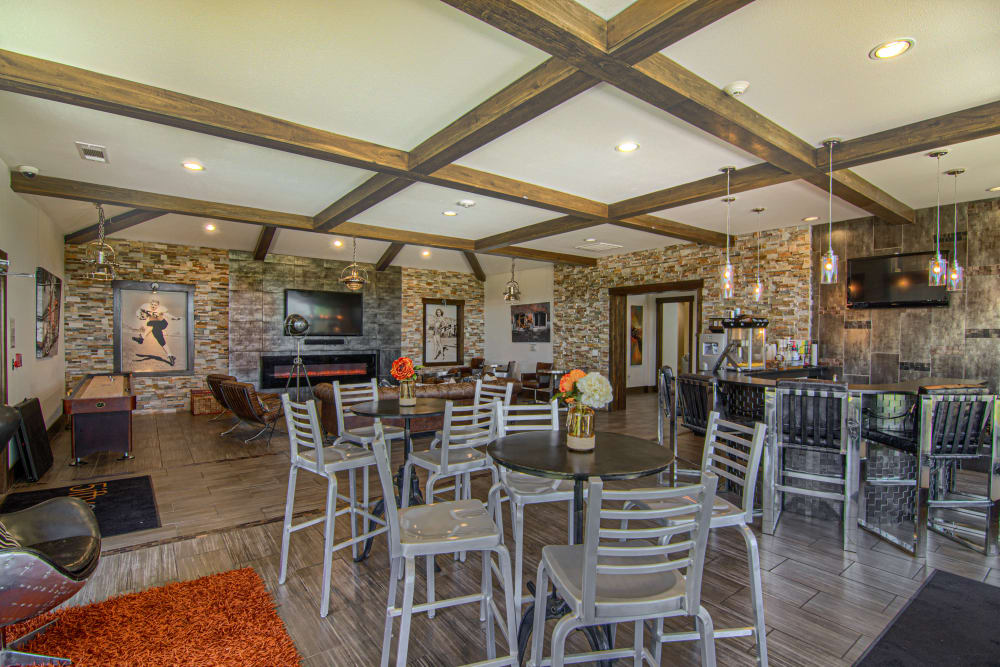 Clubhouse bar seating at Tradan Heights in Stillwater, Oklahoma