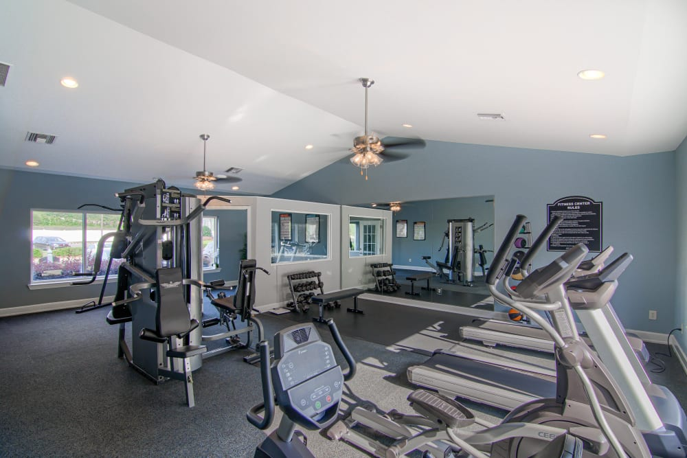 Fitness center at Lancaster Place in Calera, Alabama